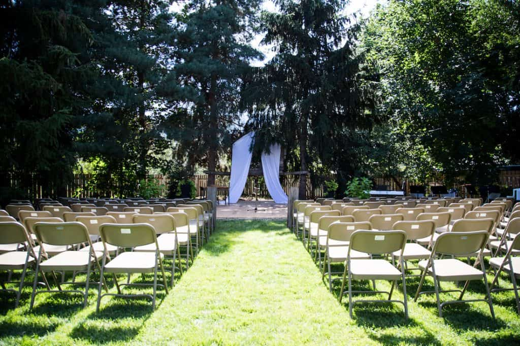 Garden Wedding Ceremony Setup | Home for the Harvest