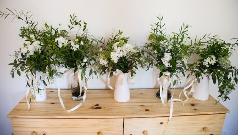 garden wedding bouquets with greenery and simple elegant white flowers