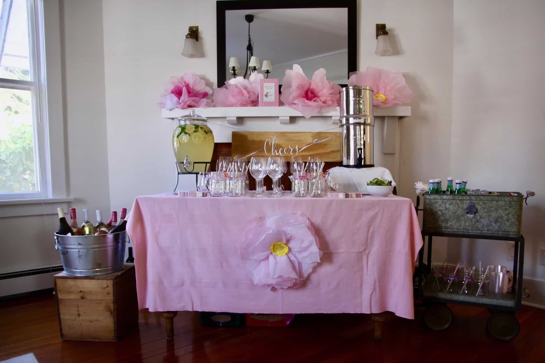 This floral-themed Sip and See party is full of simple DIY's, fresh flowers, and yummy sweets - Sip & See Baby Shower   Home for the Harvest #SipandSee #Sip&See #Baby #BabyShower #BabyParty #FloralParty #FloralTheme #BeeTheme #FlowerTheme #FlowerParty #HomefortheHarvest