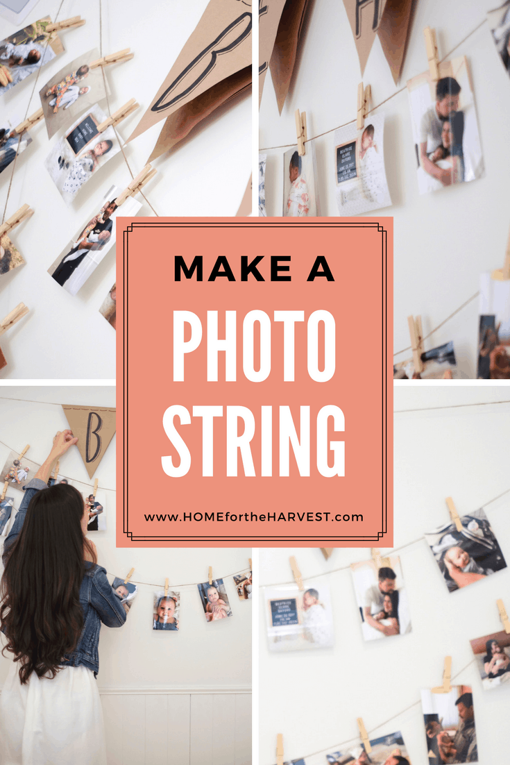 How to Make a Photo String - A photo string is the perfect easy way to make your own photo wall! It's perfect for party decor or even to brighten up your everyday space! Best of all, it won't leave any holes in your wall. #photostring #photowall #easypartydecor #DIYparty #DIYdecor