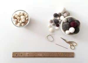 supplies for making felt ball and wood bead tree ornaments
