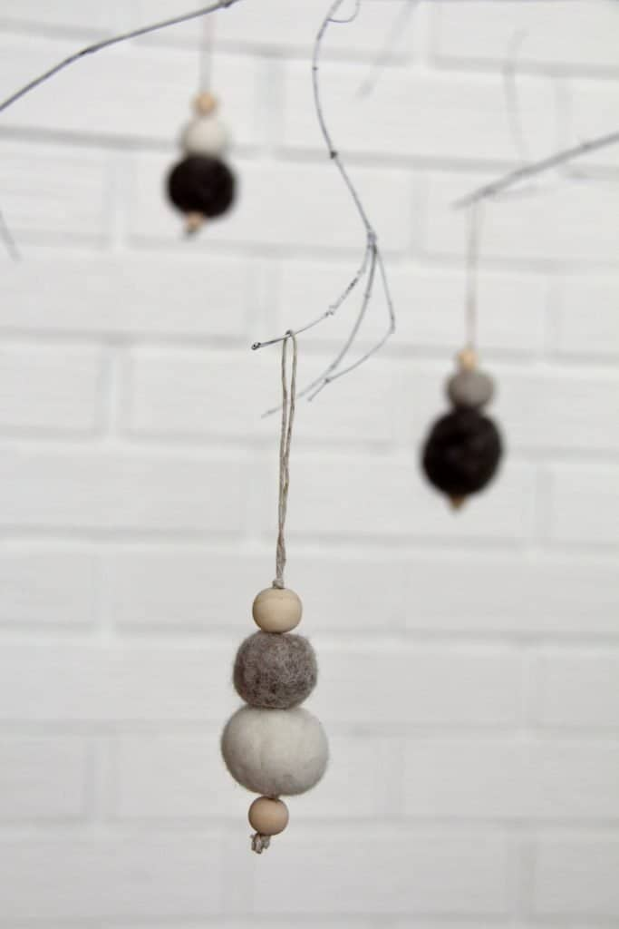 DIY Minimalist Grey Christmas Ornaments