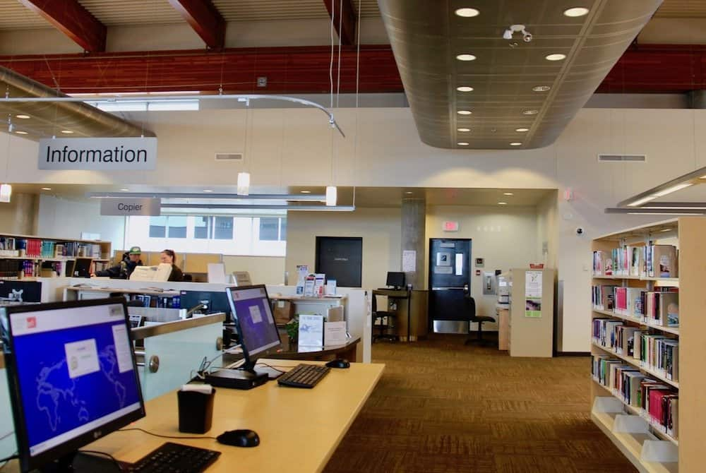 second floor of the okanagan regional library - vernon library branch - seed library location