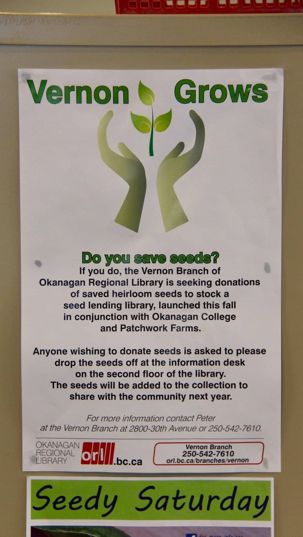 sign for the vernon grows - seed library at vernon library