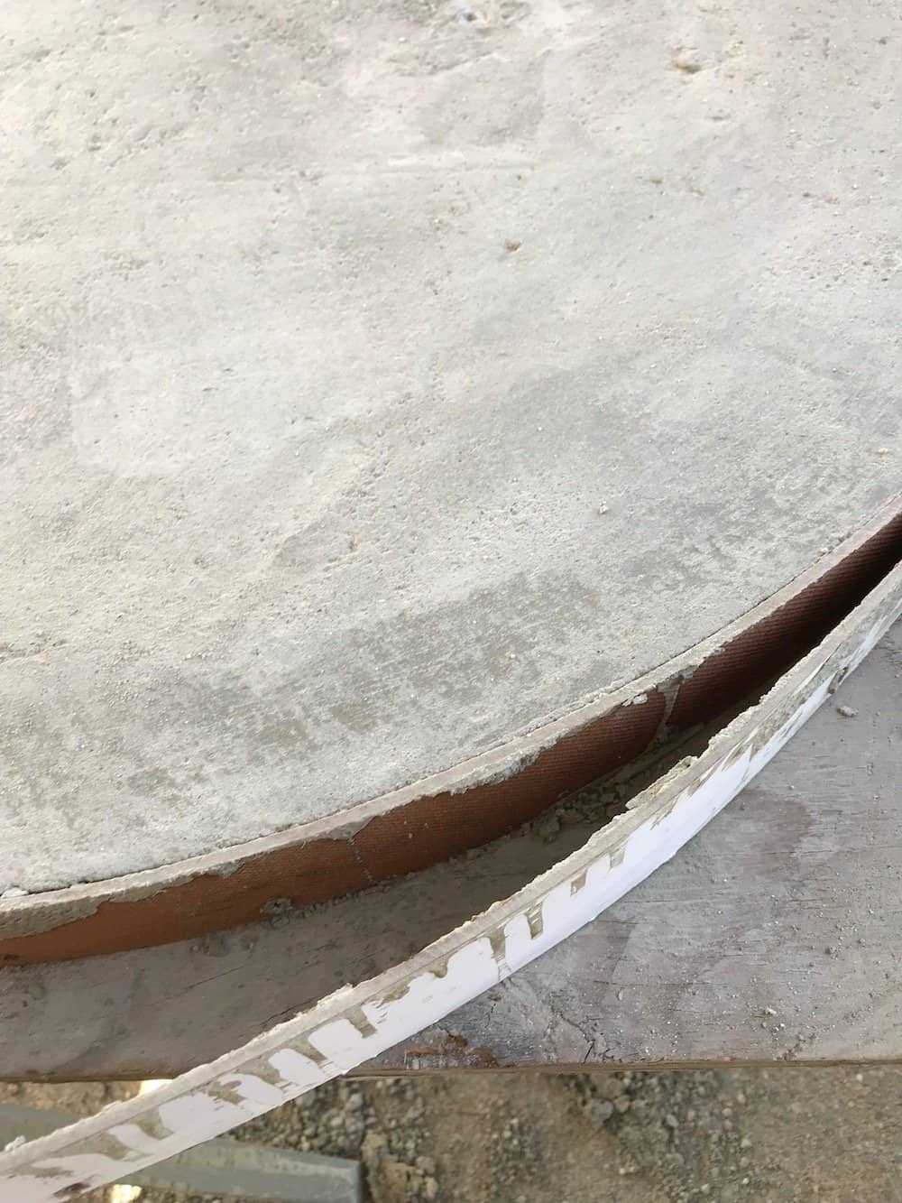 Removing form from concrete furniture