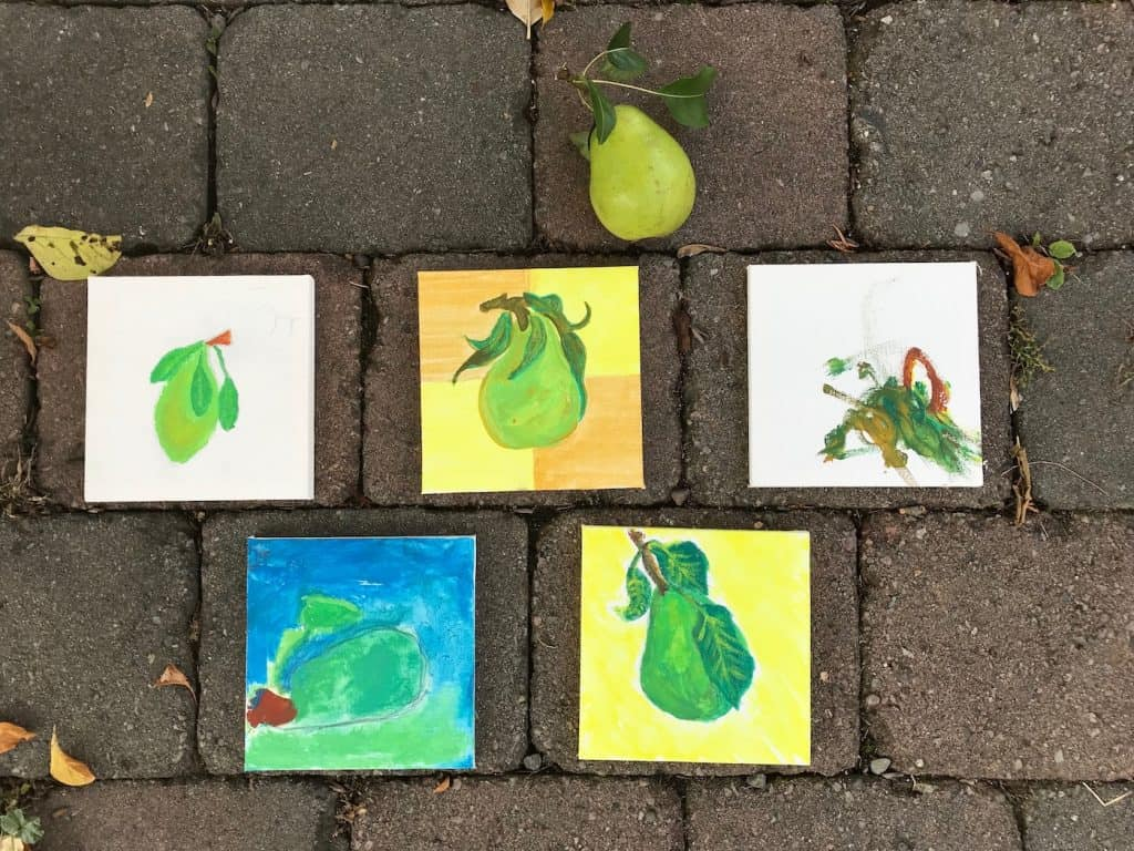 Kids crafts using all the extra pears we have right now