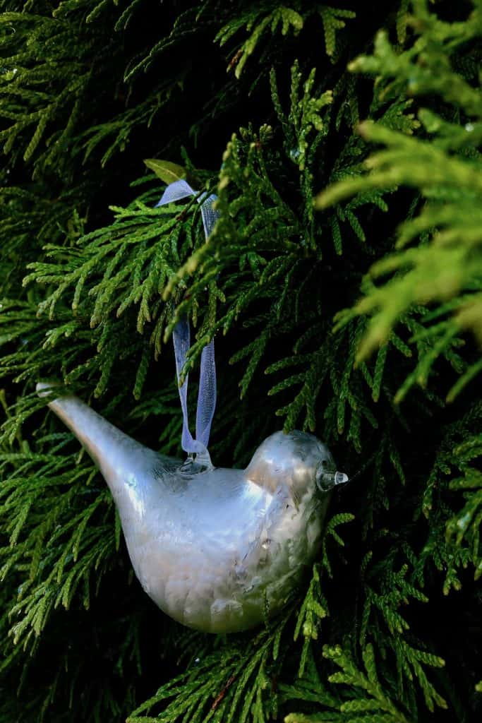 Small Mercury Glass Bird Ornament on Holiday Tree