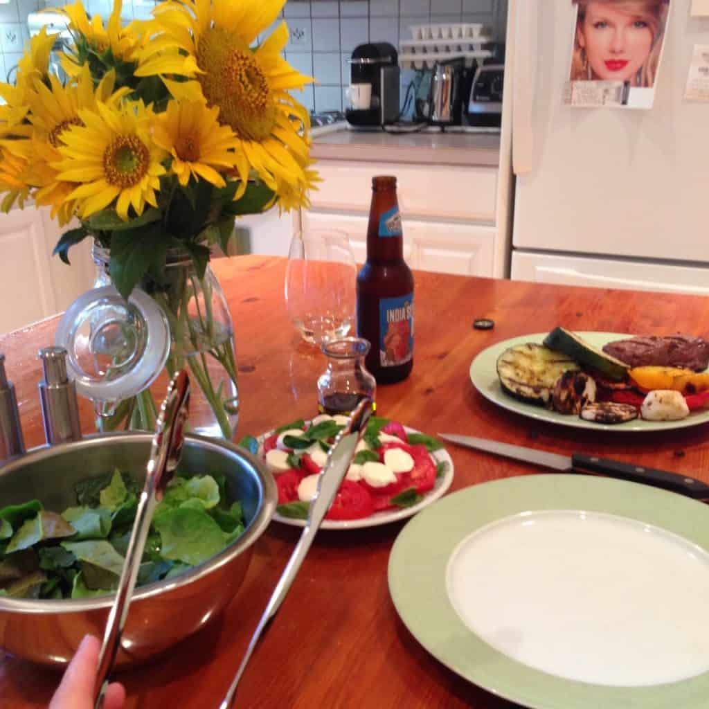 August fresh garden bbq dinner