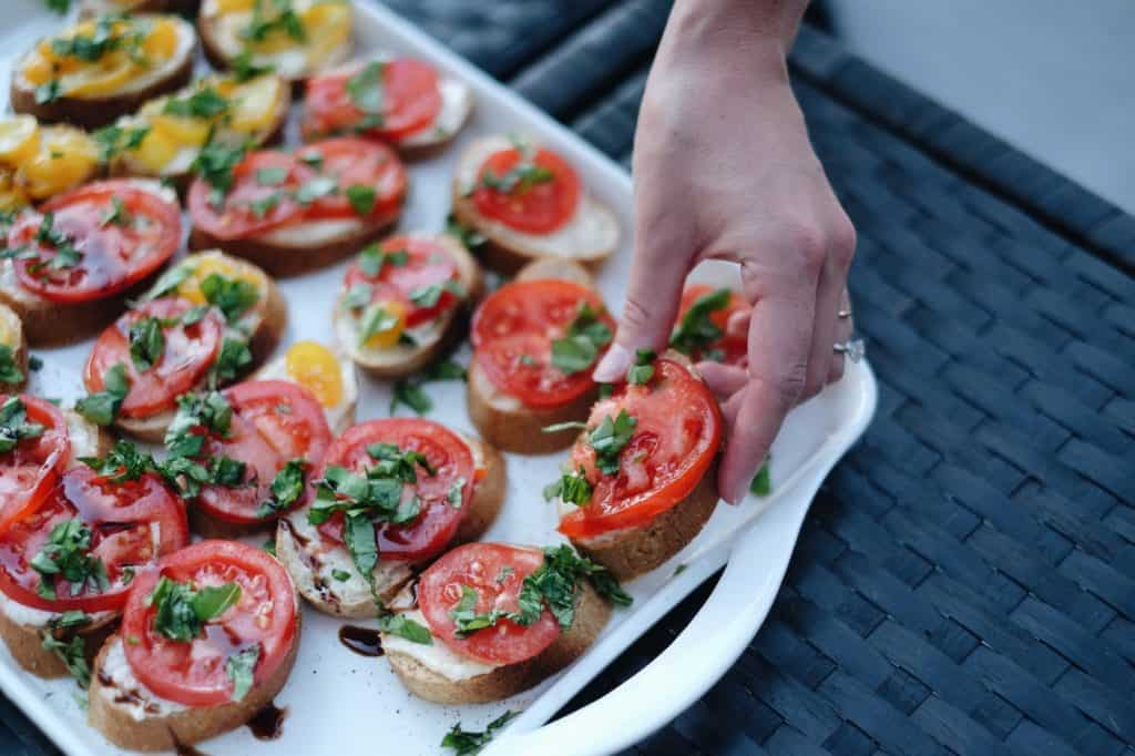 Heirloom Tomatoes on Toast with Basil