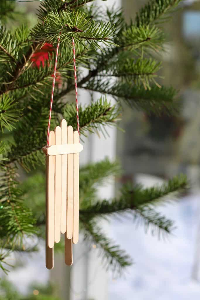 Easy Popsicle Stick Sleigh DIY Ornament