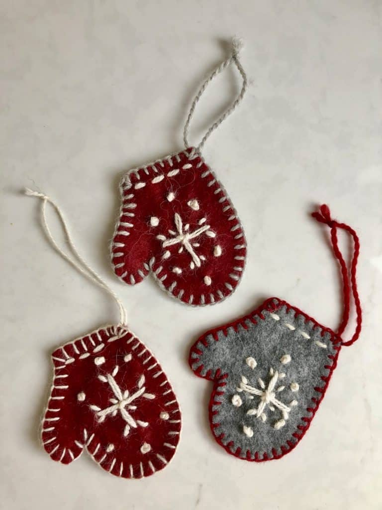 Mitten Ornaments - Adorable red and grey mini mitten ornaments with embroidered snowflake on felted material