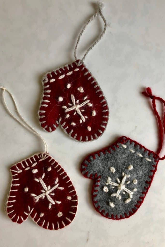 Felted Embroidered Mitten Christmas Tree Ornaments