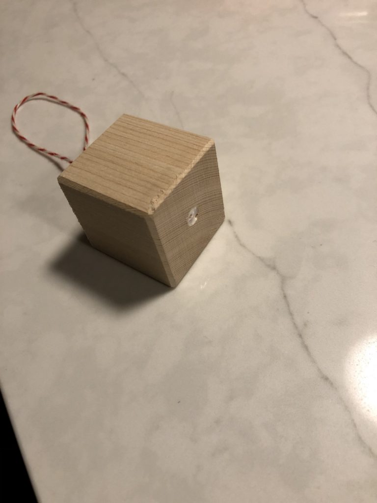 Glue the string into the wood block to make a tree ornament