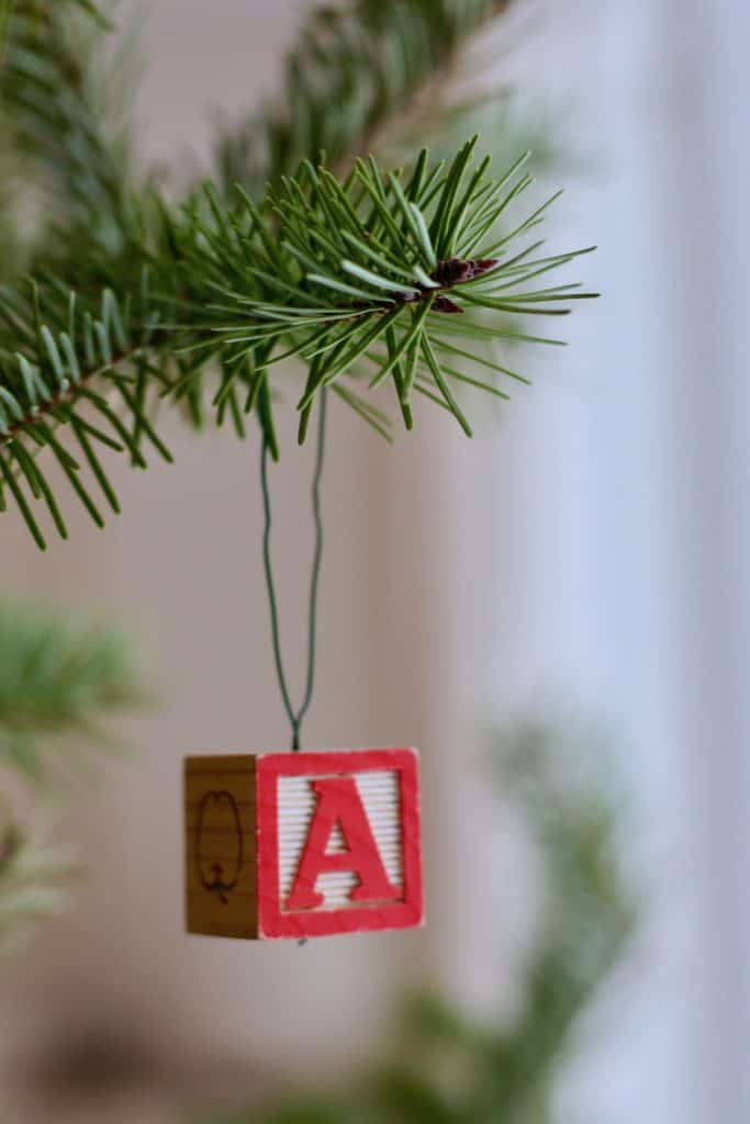 Letter Ornament A - DIY Alphabet Block Letter Ornament