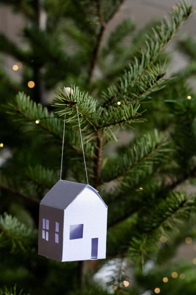 Paper House Ornament on Christmas Tree