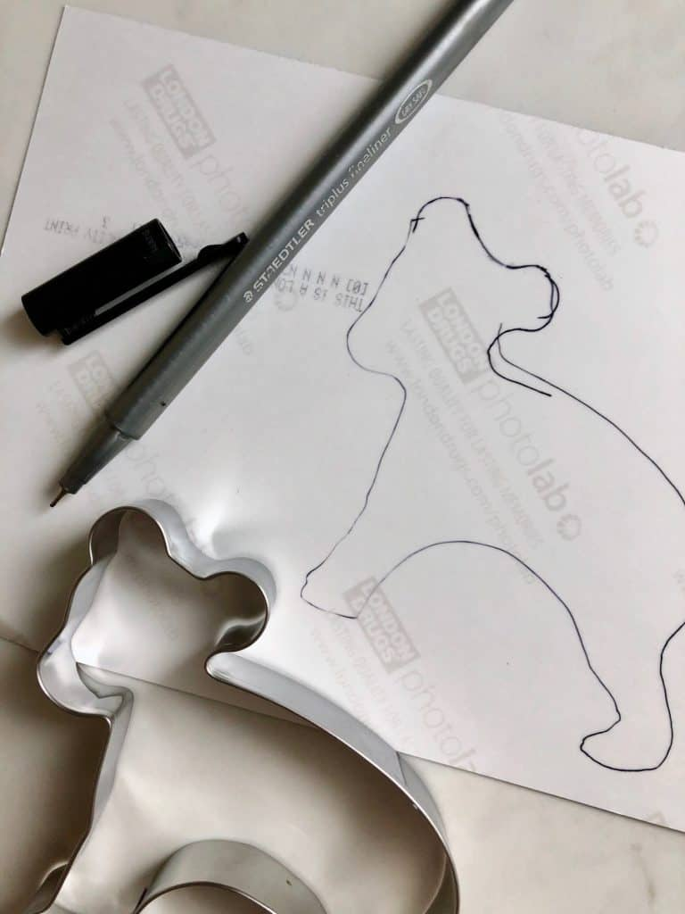 Tracing photo for cut-out christmas tree ornament