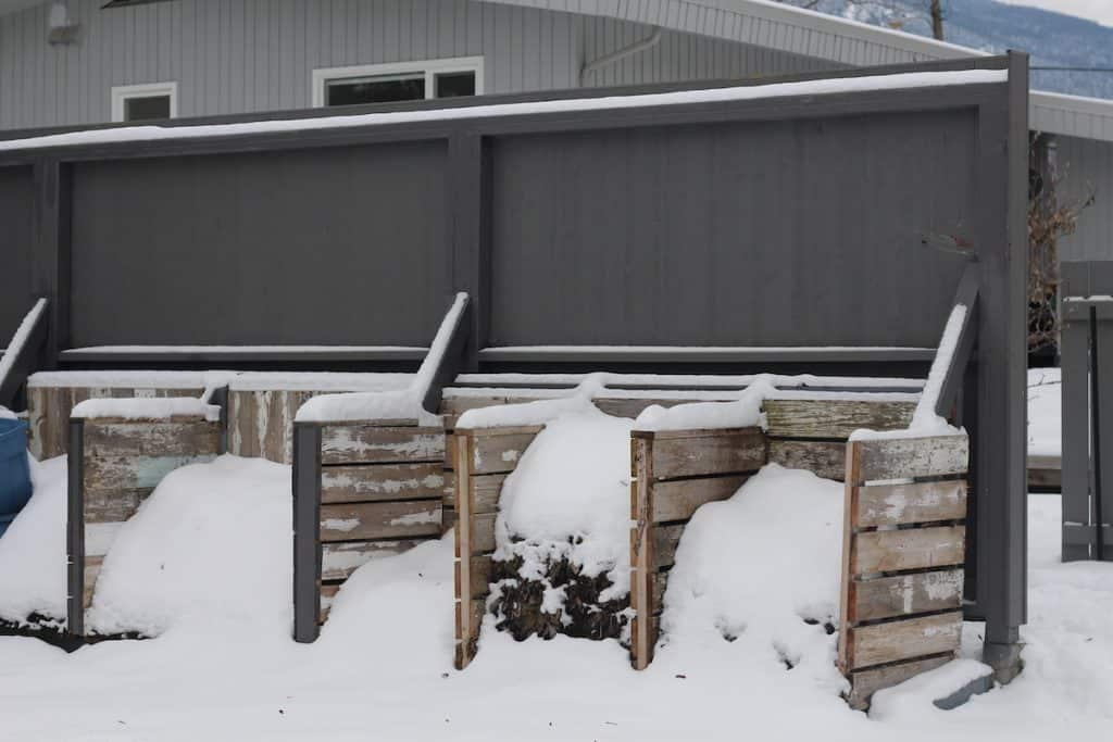 Winter Composting - Three Bin System with Snow