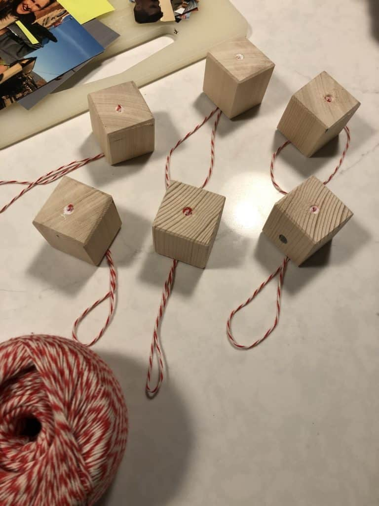Wood cube ornaments prior to glueing on photos