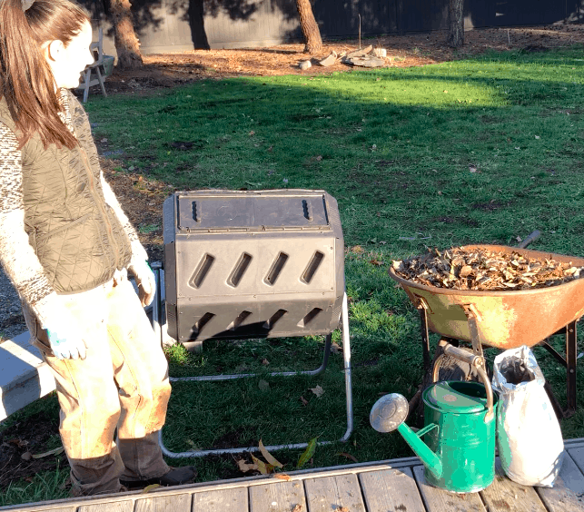 Compost Tumbler in a Backyard