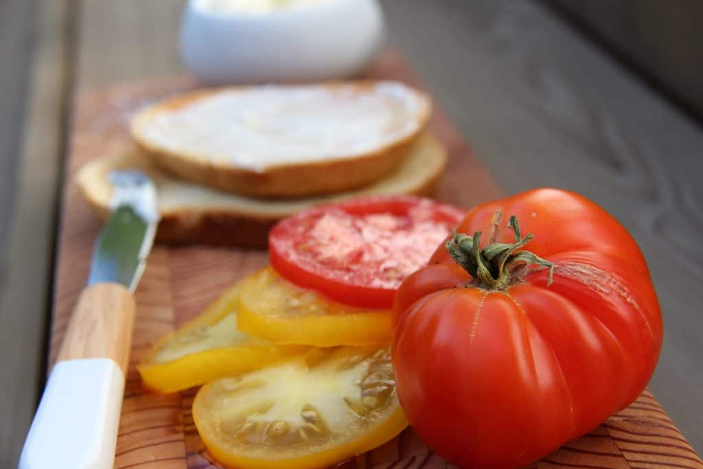 Heirloom Tomato with Fresh Red and Yellow Tomato Slices