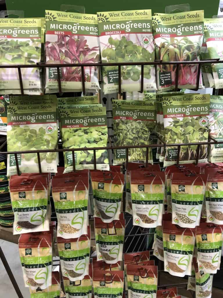 Seeds for Microgreens on Store Rack
