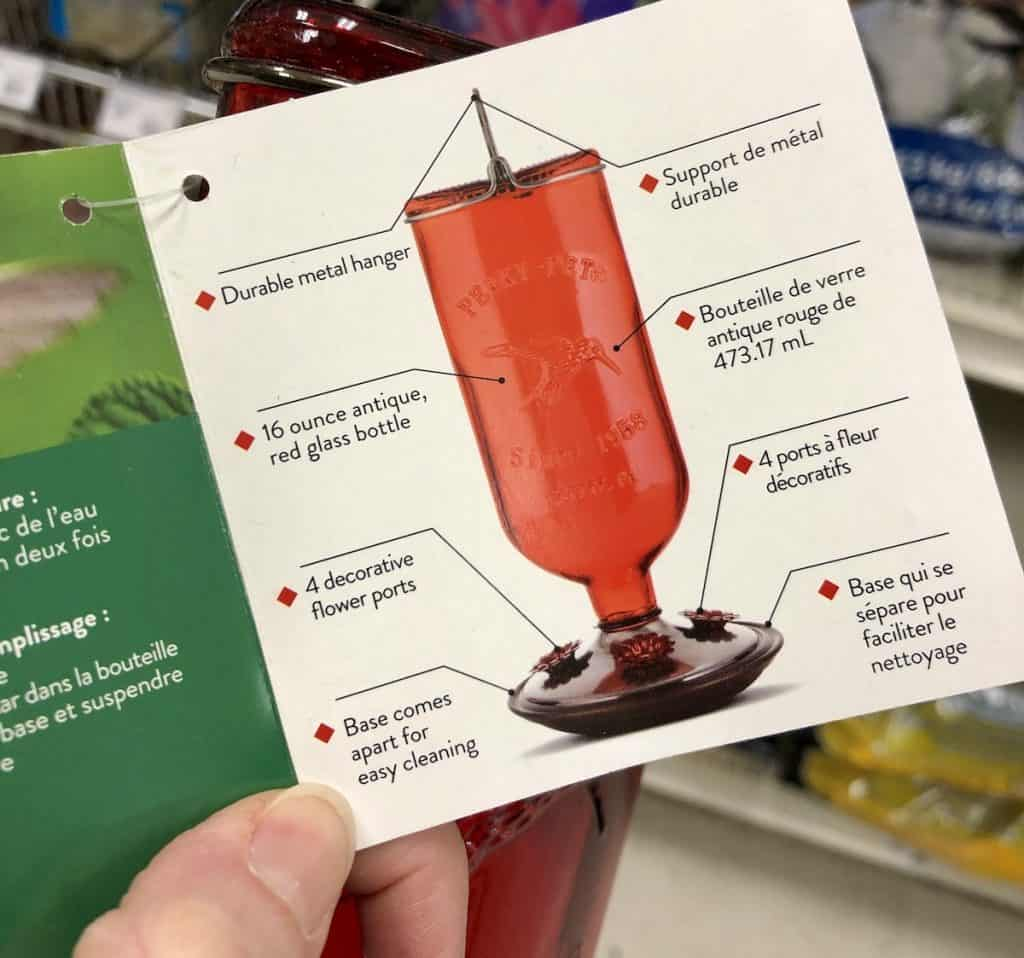 Features of a hummingbird feeder shown on product tag