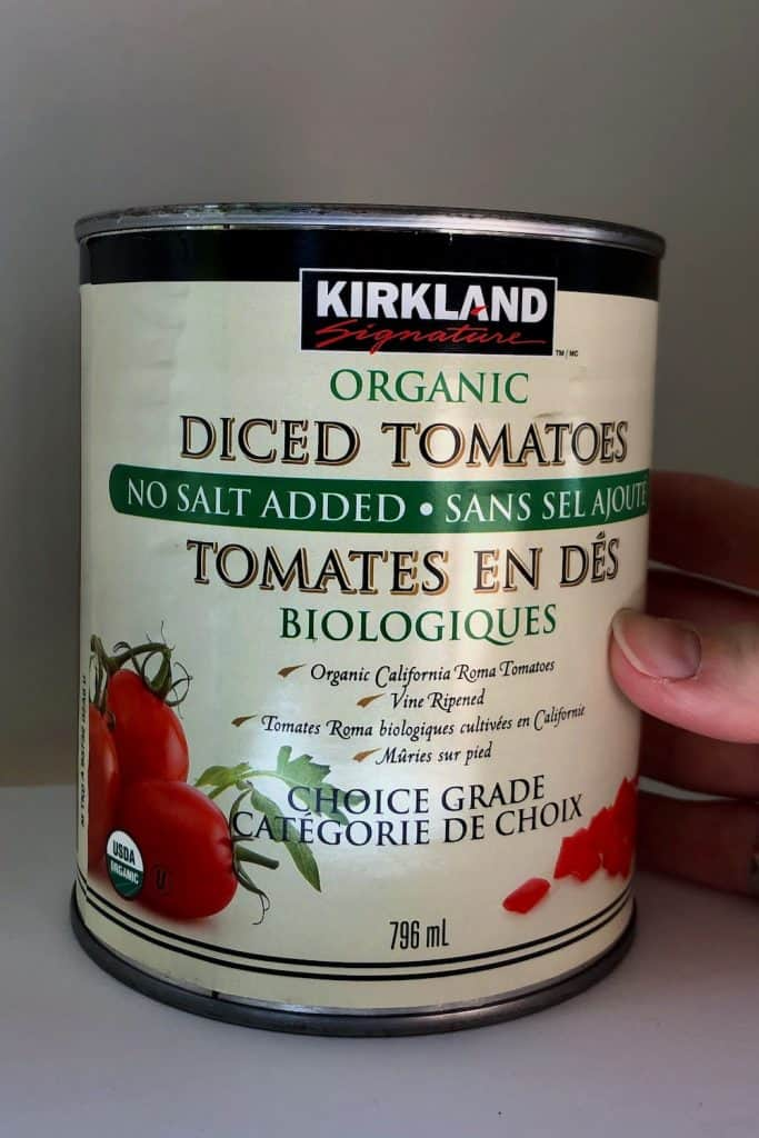 Canned Plum Tomatoes from Costco - Can of Diced Roma Tomatoes
