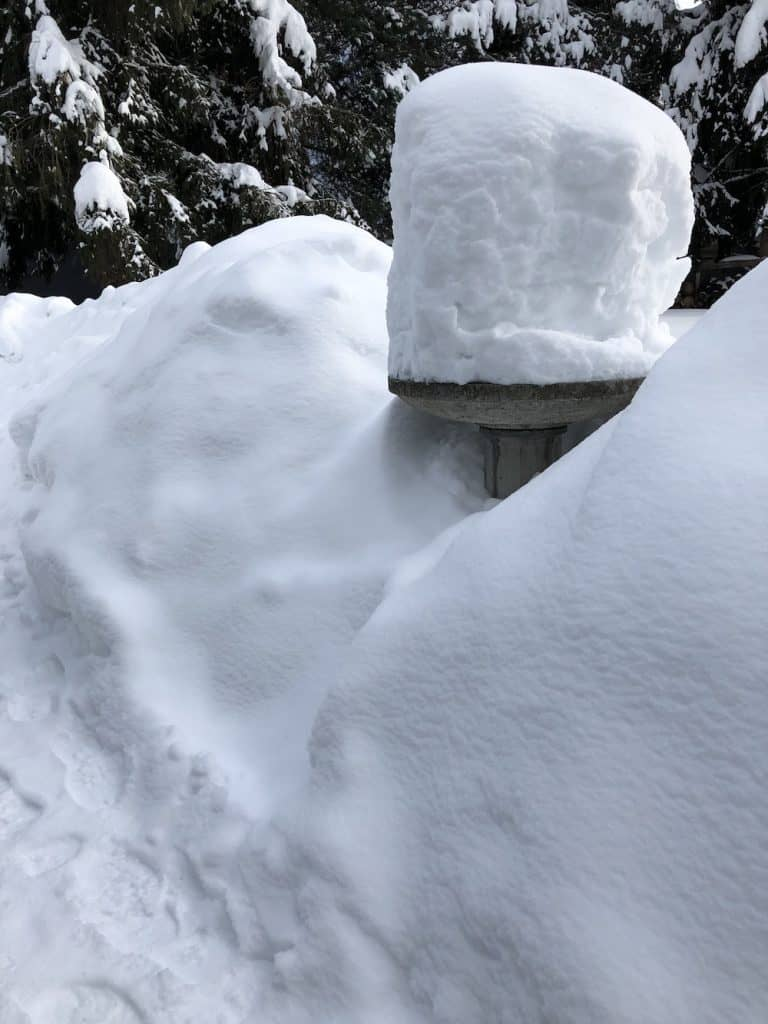 Concrete bird bath in winter covered in several feet of snow