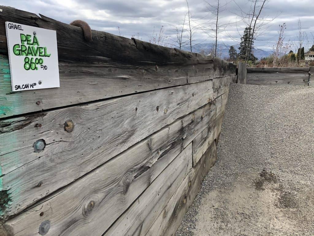 Pea Gravel for sale 86 dollars per yard at landscaping store