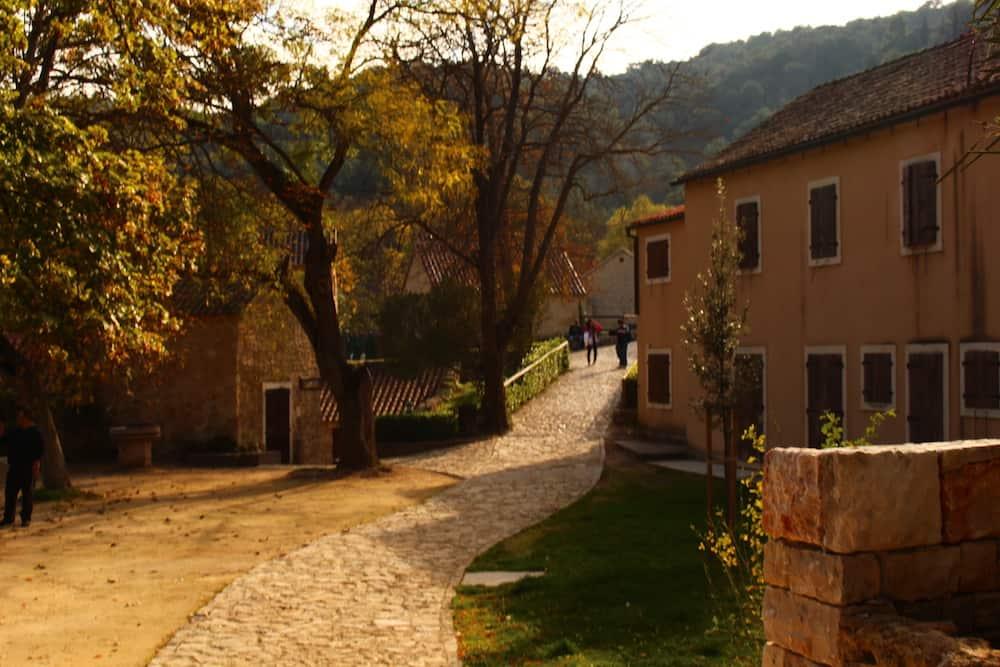Pea gravel and cobblestones in European village