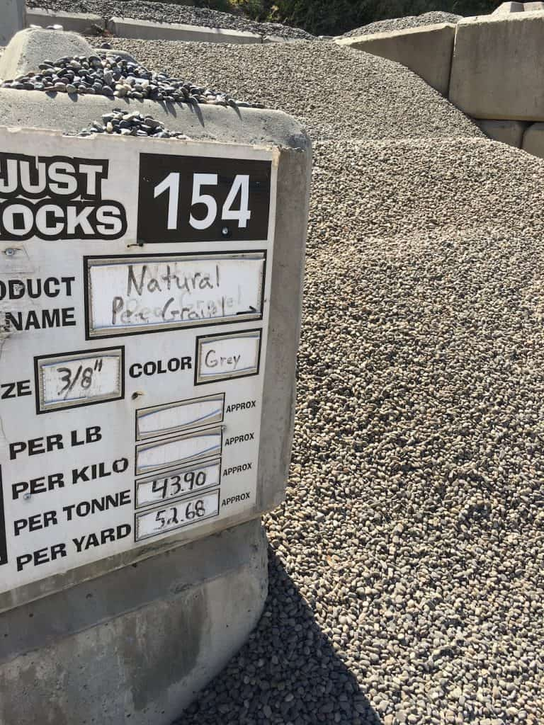 Pea gravel for sale at landscaping supply warehouse