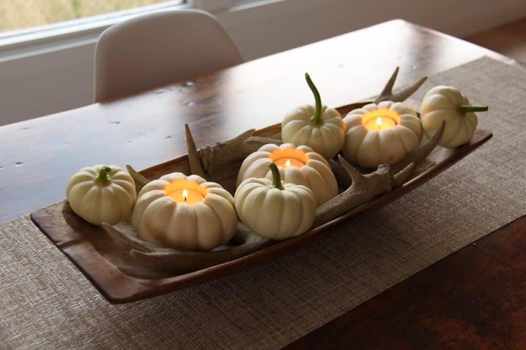 Autumn white pumpkin centerpiece