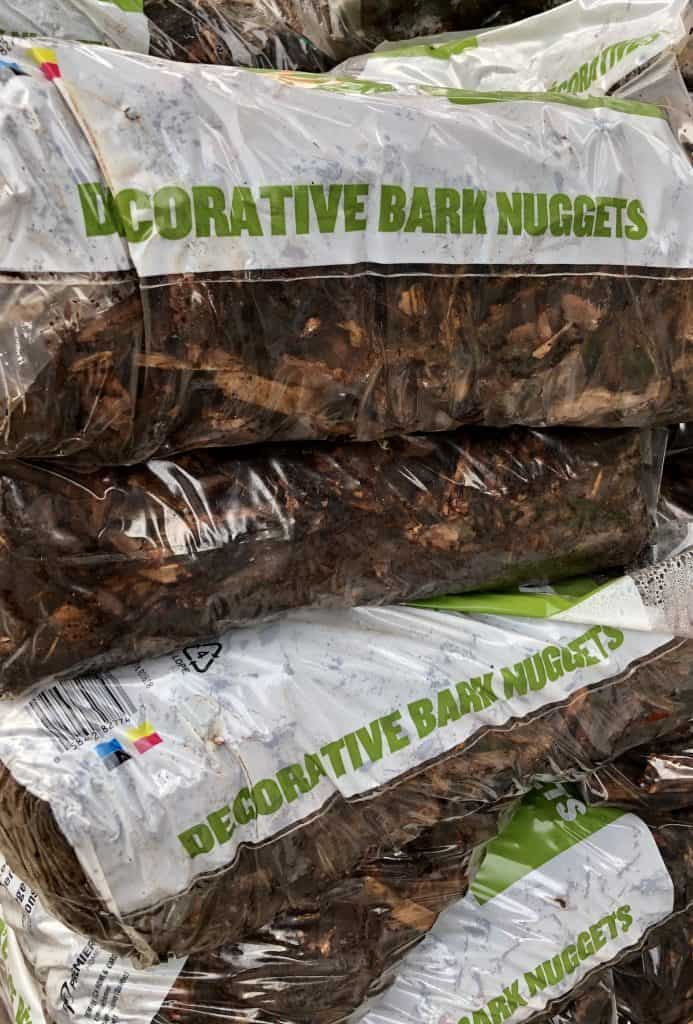 Bags of Decorative Bark Nuggets for Mulch in Garden
