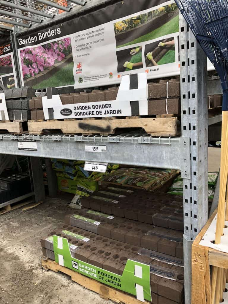 Garden border hardscaping materials on shelf at Home Depot for sale - home landscaping