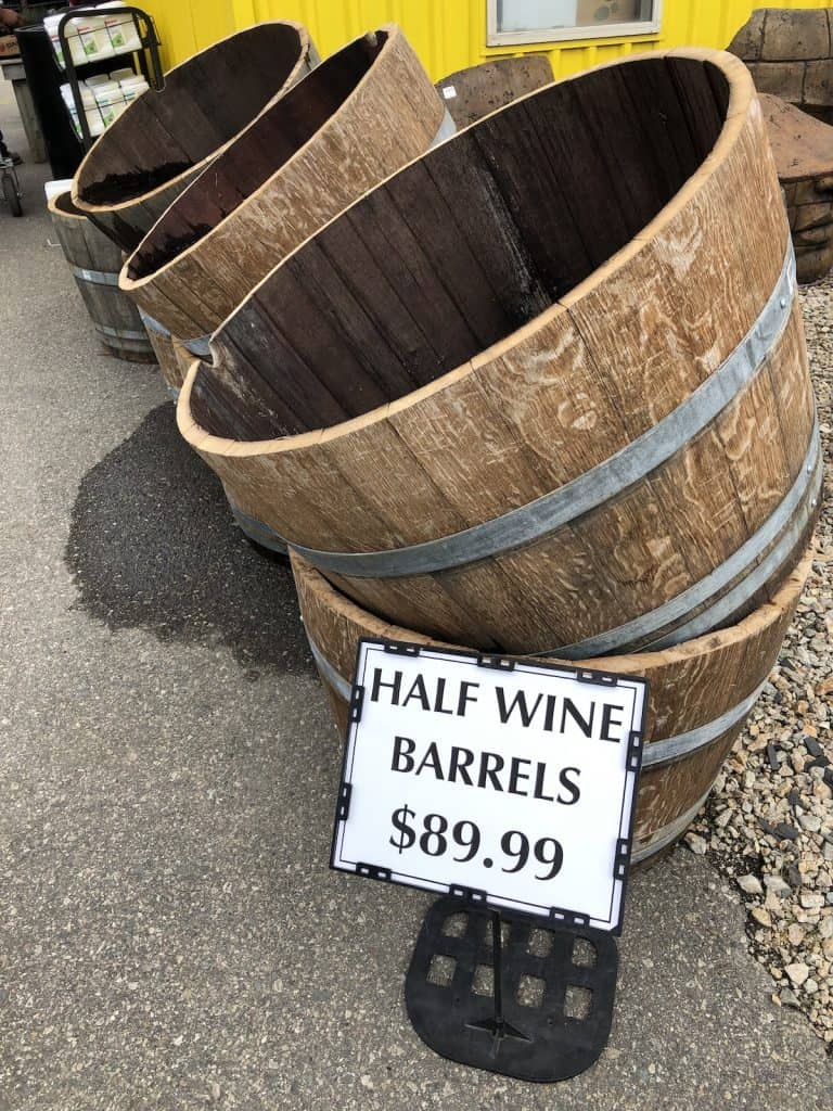 Half Wine Barrels for Sale as Planter Pots at Garden Center