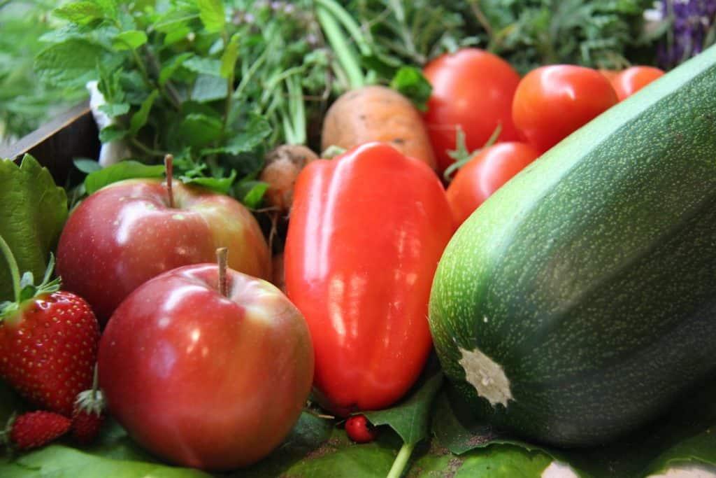 October garden harvest fruit and vegetable close up
