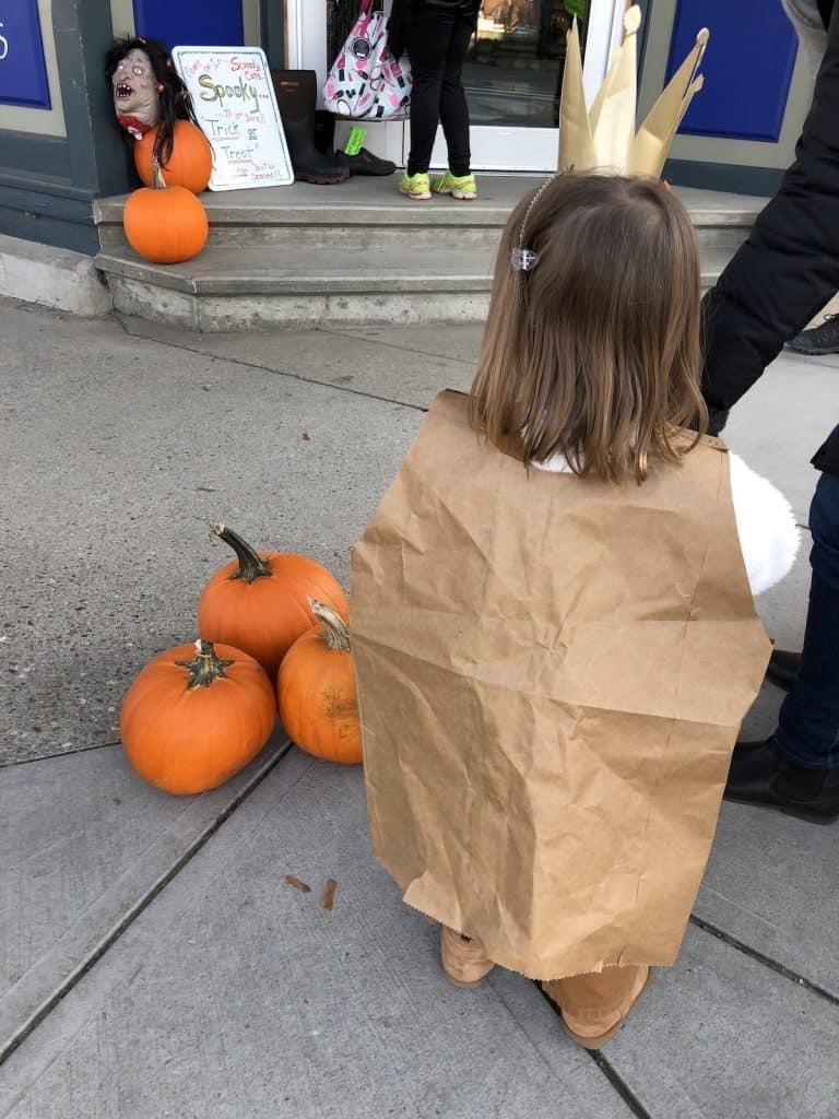 Pumpkins on the Sidewalk on Halloween