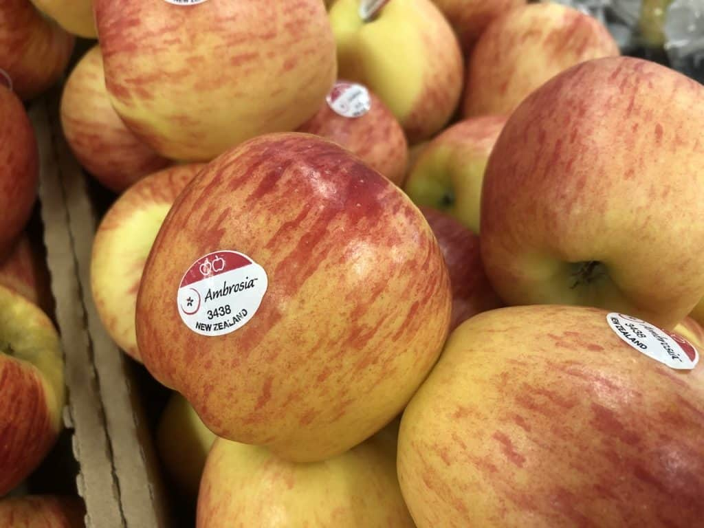 Ambrosia apples close up