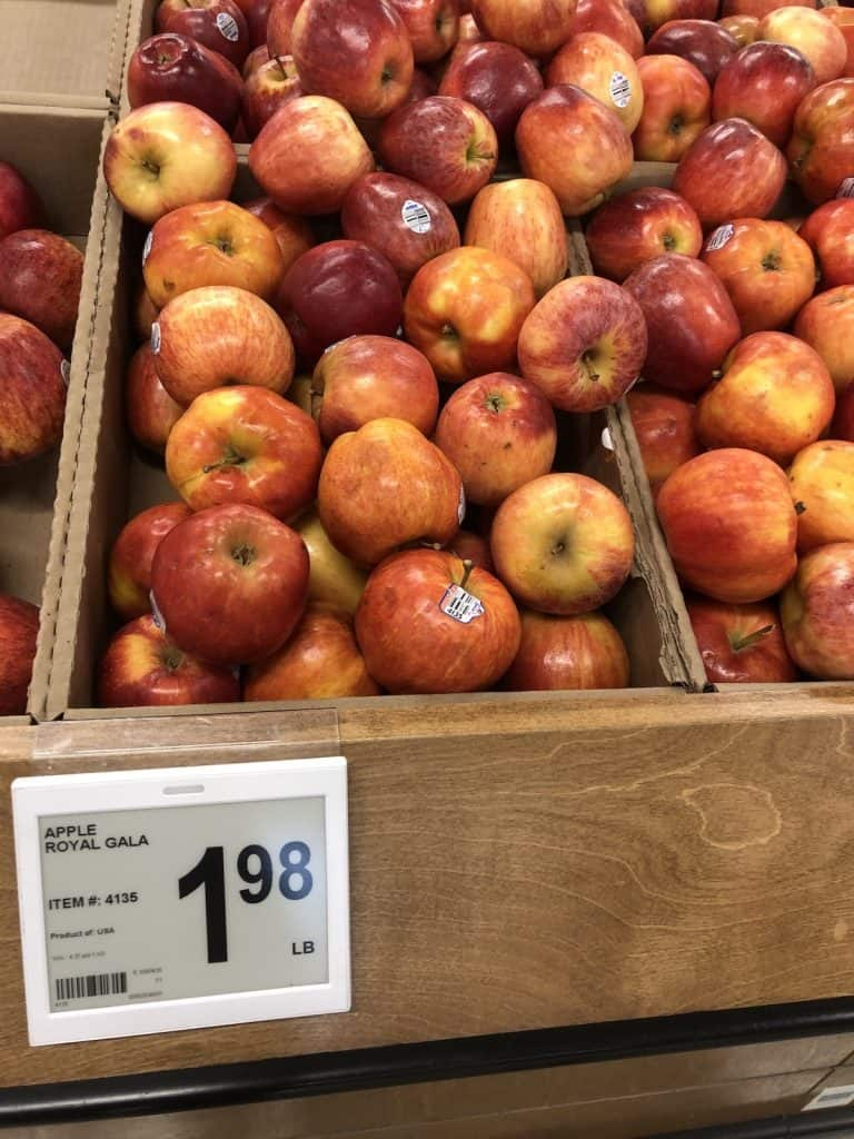 Bin of Royal Gala apples at the grocery store