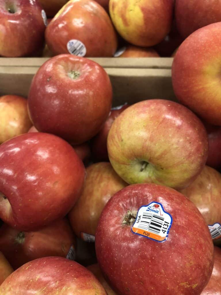 Bin of Stemilt Fuji Apples