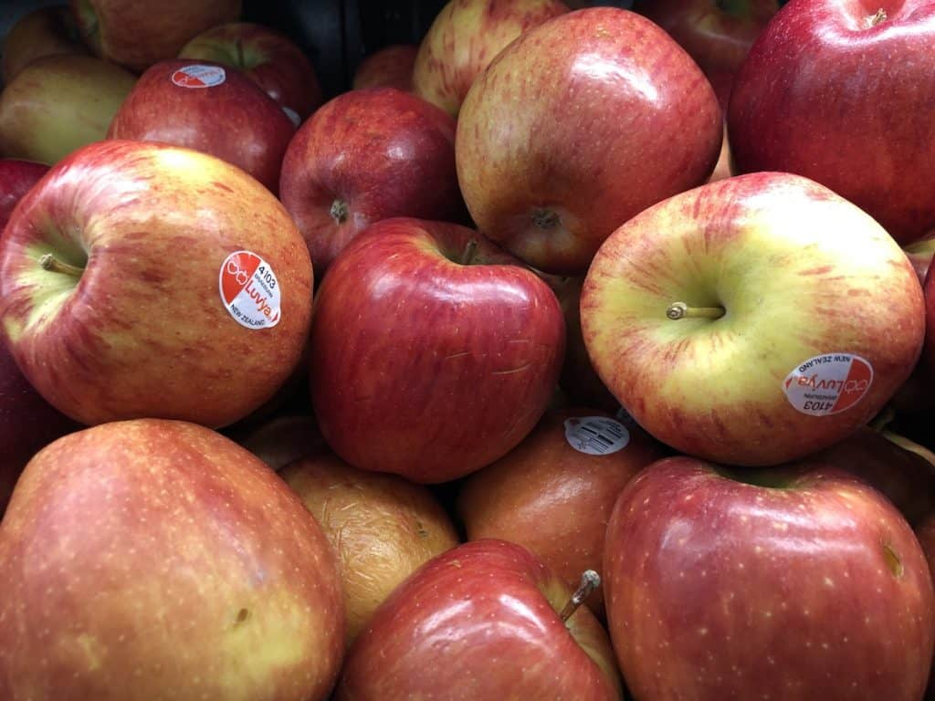 Bin of shiny ripe Braeburn apples from New Zealand