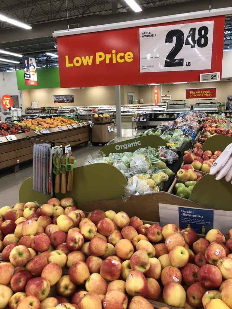 Grocery store produce section - apple area