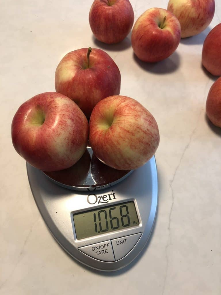 One pound of gala apples on a small weigh scale