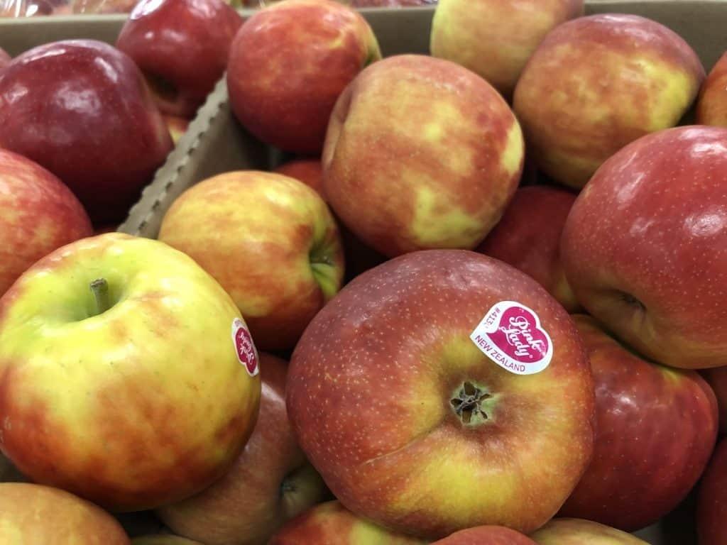 Pink lady apple heart sticker