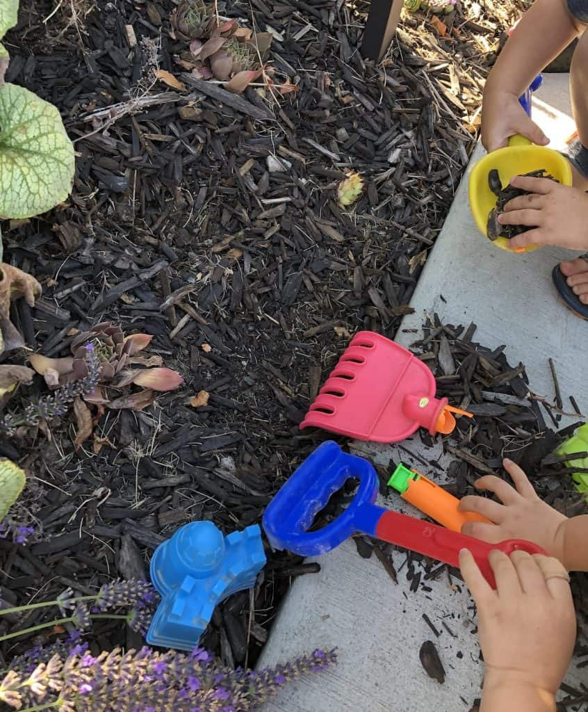 Unstructured gardening play for preschool age kids