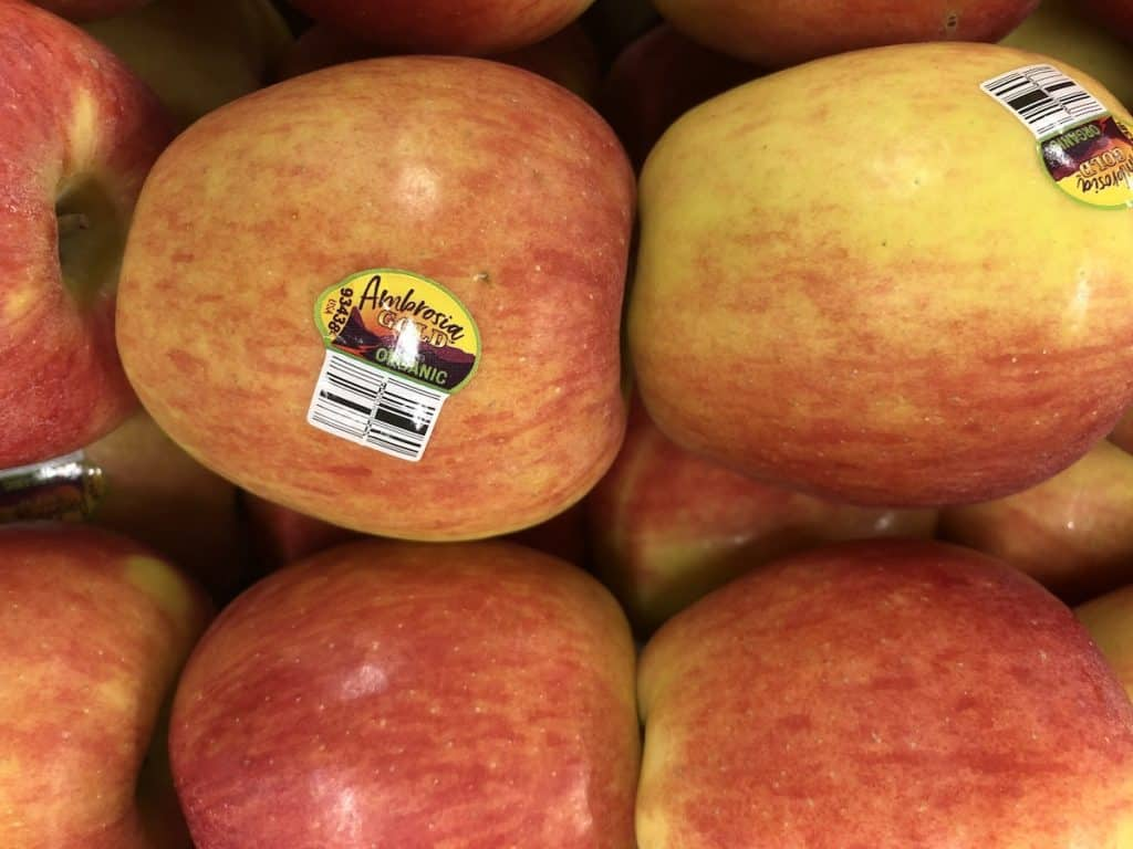 ambrosia apple tag - organic - usa grown