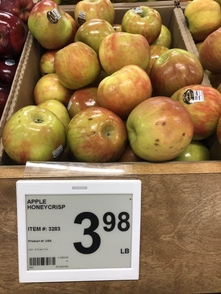 honeycrisp apples at the store for 4 dollars per pound