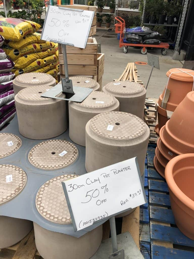 planters on sale in the autumn at the garden center