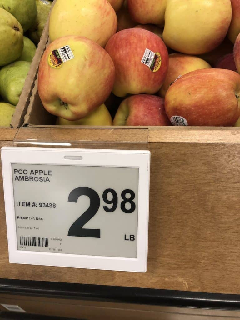 price tag for organic ambrosia apples - $3