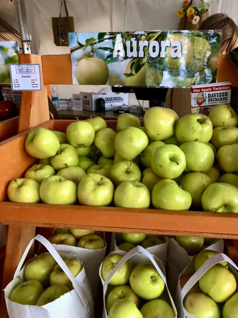 Green Aurora Apples at Farm Stand